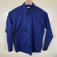 Eton Contemporary Fit Button Up Shirt Mens 18 - 46 Blue Long Sleeve Collared