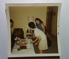 Vintage 70s PHOTO Asian Family Enjoying Cookies Cake & Pie Retro Home Lamp Shade