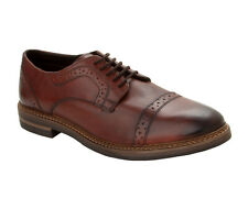 MENS BASE LONDON BROWN LEATHER LACE UP BROGUE DRESS FORMAL OFFICE SHOES SIZE