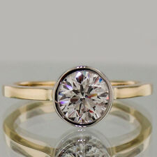 1 Ct Round Cut Bezel Set Classic Two Tone Solitaire Engagement Ring In 14K Gold