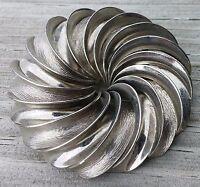 Vintage Circle Pin Brooch Modernist Spiral Silver Tone