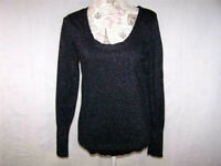 Attention Sweater Large Black Metallic Scoop Neck Stretch Long Sleeve Pull Over