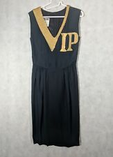 Moschino Couture Vtg 1989 VIP Gold Sequin Black Dress Size 40