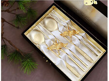 Korean Titanium Spoon Chopsticks Stainless Steel Gold Plated Crane Couple Gift