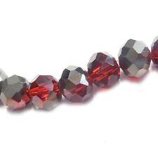 Glasperlen facettiert geschliffen Rondell 6x5 mm rot metallic 90 Perlen R211