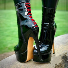 Women Patent Leather Platform Stiletto High Heel Ankle Boots Sexy Clubwear Shoes