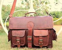 Mens Genuine Vintage Large Brown Leather Shoulder Messenger Laptop Bag Briefcase