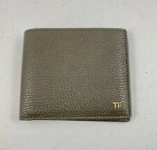 TOM FORD Grained Bi-Fold Leather Mens Wallet  - Gray / Gold Hardware