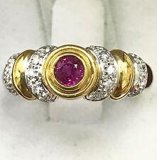 14k white & yellow gold diamond ruby ring 0.42 carats 7.20 grams unique 2 tone