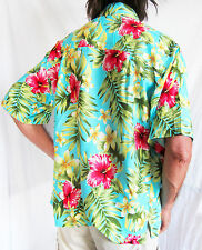 "LOUD Hawaiian shirt, light blue with Hibiscis flowers M 50"" STAG NIGHT PARTY new"