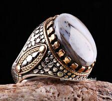 Yemeni AGATE Aqeeq Stone Turkish Handmade 925 Sterling Silver Mens Ring ALL SÄ°ZE