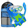 U.S. Divers S/M Youth Buzz Snorkeling Mask & Fin Diving Set, Fun Blue (Open Box)