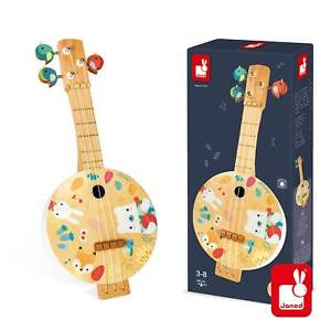 New JANOD WOODEN PURE BANJO Kids Children 1st Musical Playable Instrument 3-6yr