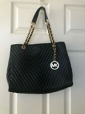 Michael Kors Black Quilted Tote Handbag With Gold Tone Hardware