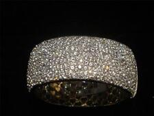 BEST OFFERS! $7000 RARE FANCY WHITE SAPPHIRE WIDE CUFF BANGLE BRACELET 27 CTS