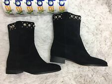 Michael Kors MK Boots Suede Leather Studded Booties Pull On Black Sz 8 New