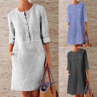 Womens Spring Cotton Striped Shirt Dress Long Sleeve Plus Size Knee Length Dress