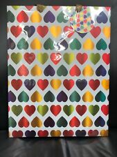 (1). Heart Stamp X-Large Rainbow Vertical Paper Bag.~ 13.25 X 17 X 6 ~:Inches.~
