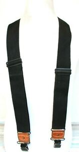 """Dickies HEAVY DUTY BLACK CANVAS BROWN LEATHER CLIP-ON X-BACK 2""""Wd SUSPENDERS (Z5"""