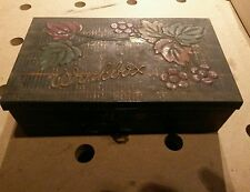 """VINTAGE OLD GEO BASSETT & Co CONFECTIONERS TIN """"WORKBOX"""" CATCH Antique UK TOOLS"""