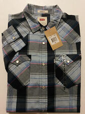 Levis Mens Shirt Size Small Western Plaid Pearl Snap Long Sleeve Cotton Blend