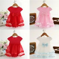 0-24M  Baby Girl Kid Bow Tulle Tutu Dress Princess Party Outfit Newborn Tops