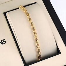 "18K Yellow Gold Filled Bracelet Men's/Women 8.1"" Rope Chain 4mm GF charm Jewelry"