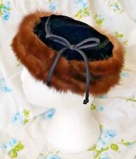 True Vintage Hudson's Bay Company Real Fox Mink Fur Pillbox Hat Black Velvet