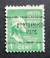 Sc # 804 ~ 1 cent Washington Issue, Precancel, NORTHAMPTON MASS.