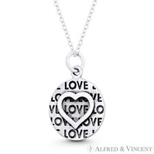 Heart, Love Script & Round Disc Charm / Pendant in Oxidized .925 Sterling Silver