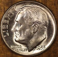 1955 D Roosevelt Dime  CH BU  LUSTER! 90% Silver US Coin FREE SHIPPING