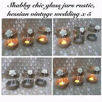 Vintage Wedding Jars Large Glass Hessian Shabby Chic Rustic Table Centrepiece X5