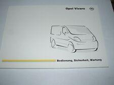 Manual de instrucciones Opel Vivaro, edición 05/2002 (nuevo) #bavi 0502