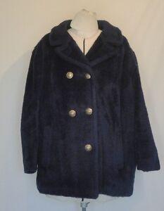 Fleecy Pile Navy Blue Short Coat Jacket Sears Double BreastedB50