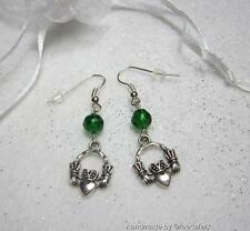 Irish claddagh Earrings with emerald czech glass crystal  on silver plated wires