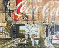 Original Signed H Hargrove - Coca Cola Advertised Barn - Serigraph Art Painting