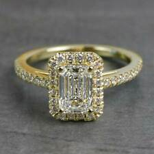 1.5 Carats Emerald Cut Moissanite Halo Engagement Ring in 9k Solid Yellow Gold