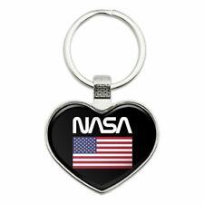 NASA Worm Logo United States Flag Keychain Heart Metal Keychain