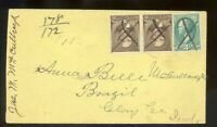 Registered Cover - No Origination - Destination Brazil - #205 Garfield X 2 + 3ct