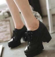 Women's Ladies Lace Up Ankle Boots High Heel Platform Punk Block Platform Shoes