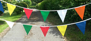 40ft Carnival Fabric Bunting Wedding Handmade Garden Party Rainbow Multicoloured