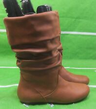 new ladies TAN Flat Slouch Round Toe Mid-Calf Sexy Boots Size  9