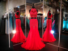 Red Two Piece Prom Dresses Halter Long Mermaid Applique Beading Pageant Gowns