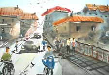 "original aquarell "" vieux village france "" sign. 21cm x 30cm 300g/m² by thessini"