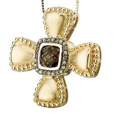 NEW 14k YELLOW GOLD SMOKY QUARTZ COGNAC DIAMOND CROSS PENDANT NECKLACE CHARM