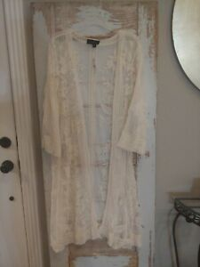 NWT 22/24 Lane Bryant Embroidered Mesh Lace Overpiece Duster Cardigan