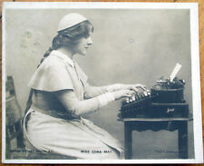 1904 Miniature Realphoto Postcard: Stage Actor, Edna May using Typewriter