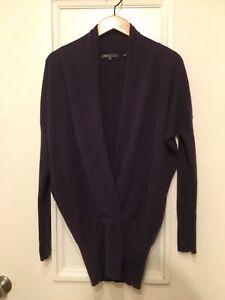 Vince Women's M 100% Cashmere Ultra Soft Purple V Neck Long Sleeve Sweater