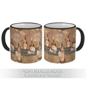 Gift Mug : Vintage Drawing Wine Bottle Glass Grape Basket Kitchen Retro Decor