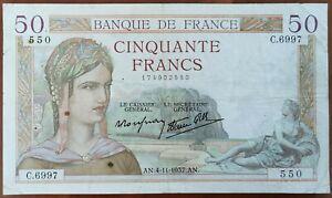 Billets 50 francs CERES 4 - 1 - 1937 France C.6997